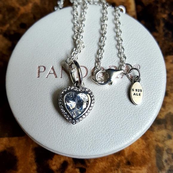254c1f010 Pandora Jewelry | Authentic Sparkle Heart Pendant Necklace | Poshmark